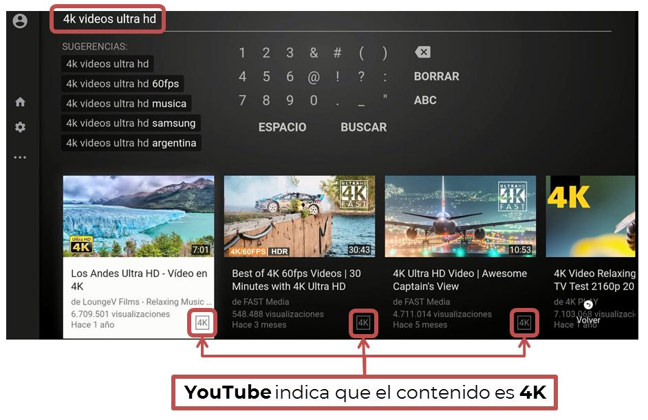 Contenido de YouTube en 4K