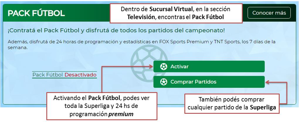 Contrata el Pack Fútbol en Sucursal Virtual de TeleCentro