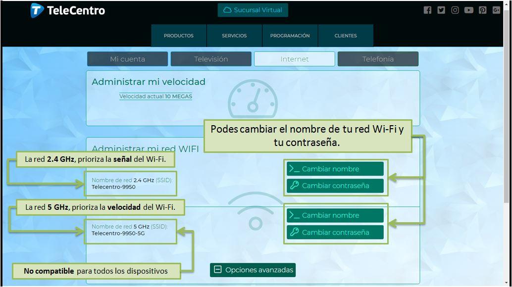 Administración de tu red Wi-Fi de TeleCentro