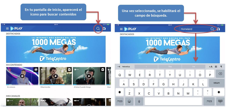 Buscar contenido en TeleCentro Play