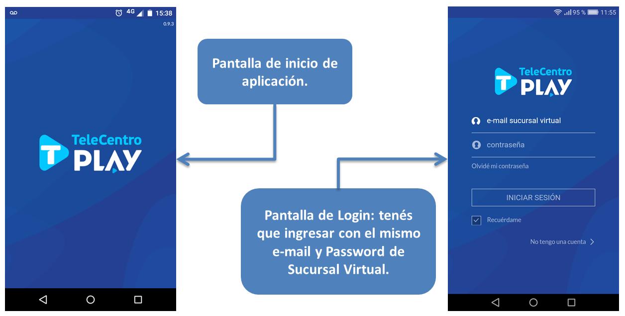 Ingreso de usuario en la aplicación de Telecentro Play