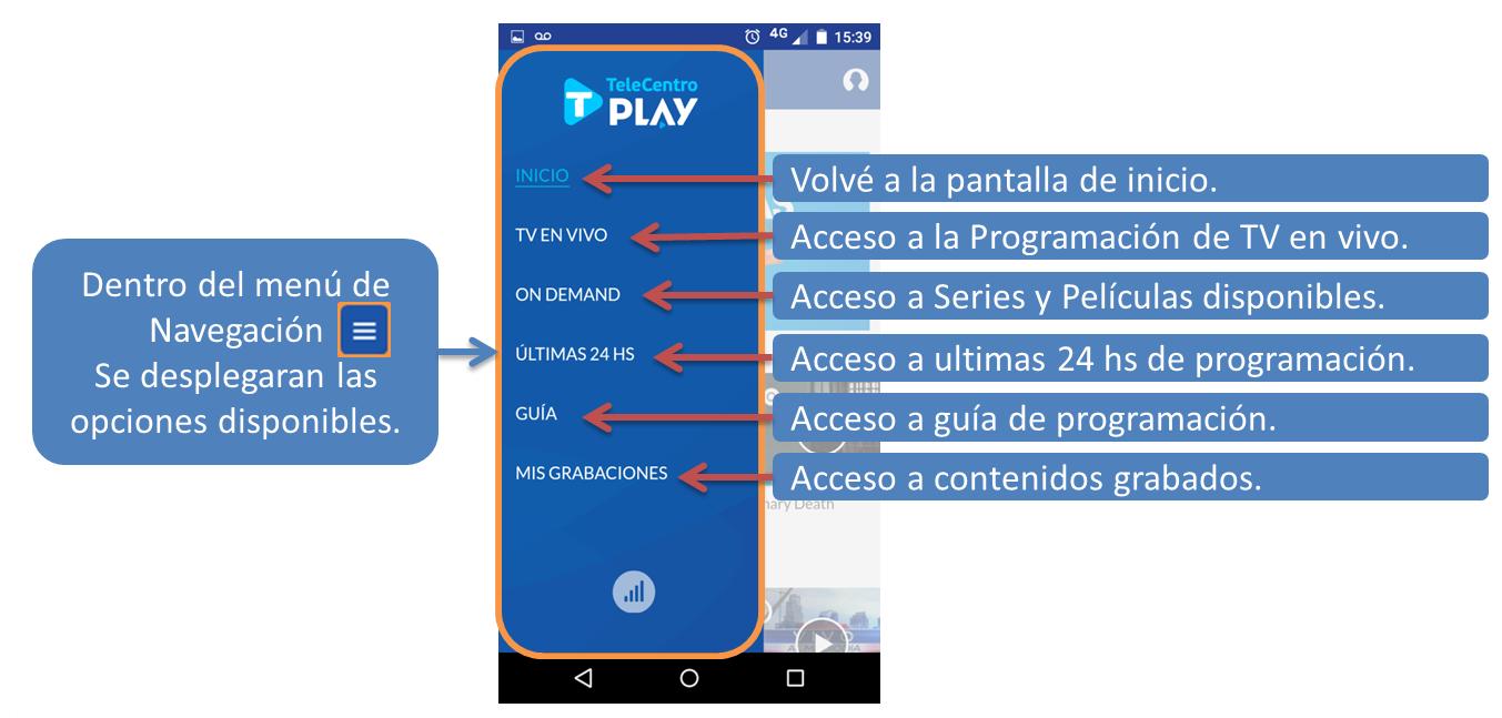 Navegación en TeleCentro Play