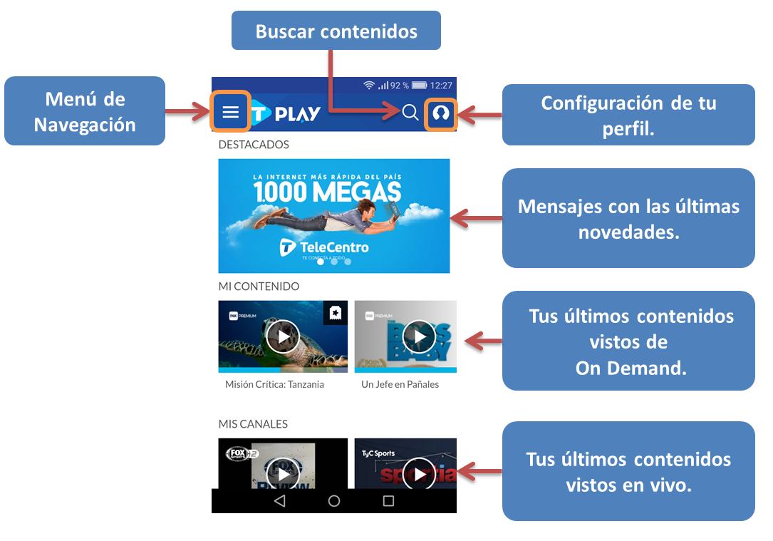 Pantalla principal de la aplicación TeleCentro Play