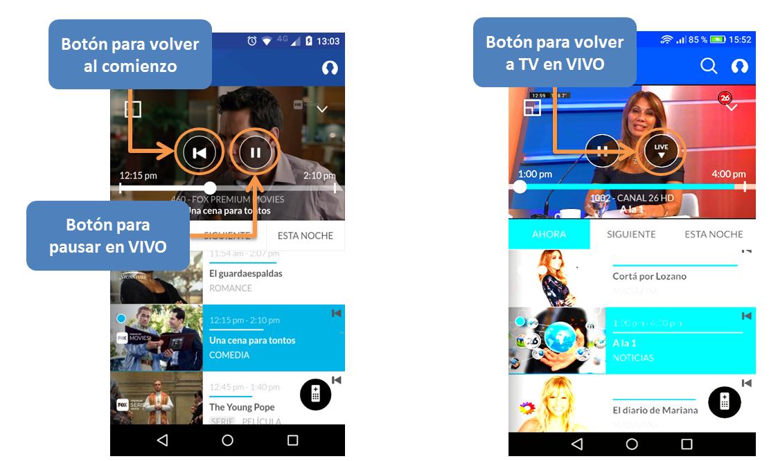 Volver al principio, pausar y reanudar en VIVO con la aplicación TeleCentro Play