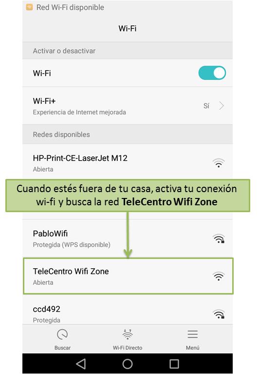 Encontrá tu red TeleCentro WiFi Zone