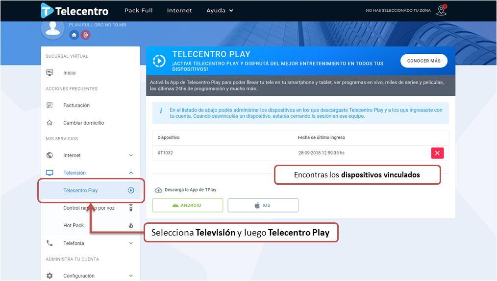 Administracion de dispositivos desde Telecentro Play