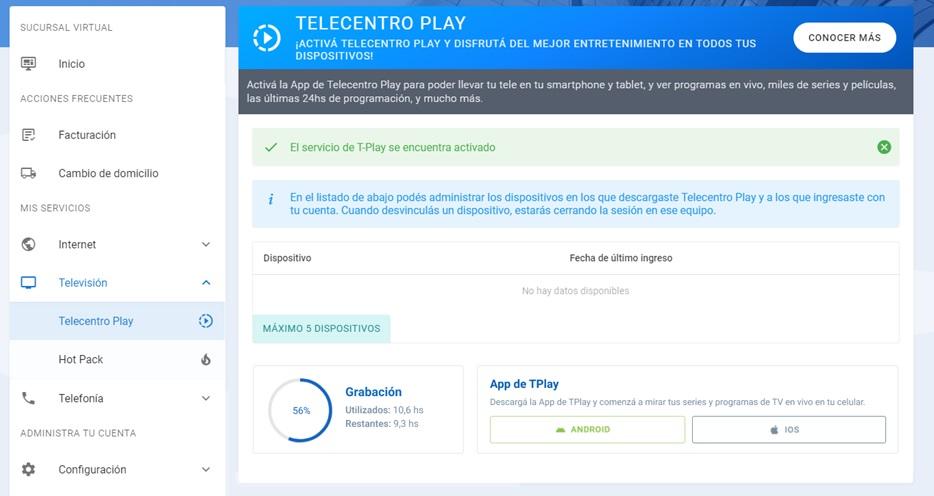 Grabaciones en Telecentro Play