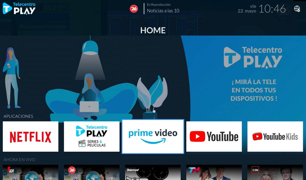 Prime Video en el menu de aplicaciones